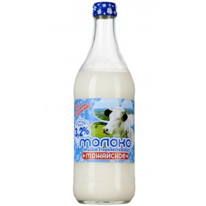 MOZHAYSKOYE - BRAND MILK, 3.2% FAT CONTENT, GLASS BOTTLE